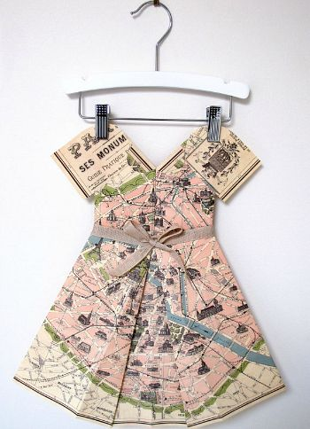 Paris map folded paper dress on Cool Mom Picks