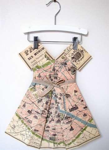 Paris map folded paper dress on Cool Mom Picks